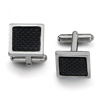 Square Stainless Steel Cufflinks with Black Carbon Fiber Weave Center