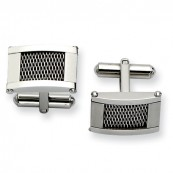 Stainless Steel Wire Brushed & Polished Cufflinks