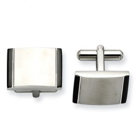 Brushed Stainless Steel Cufflinks with Black Acrylic Ends - Engravable