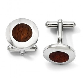 Round Stainless Steel Cufflinks with Wood Inlay Center