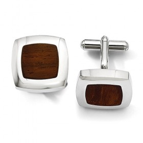 Rounded Square Stainless Steel Cufflinks with Wood Inlay Center