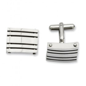 Polished Stainless Steel Slotted Grate Cufflinks