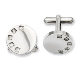 Round Stainless Steel Cufflinks with Semi-Circle CZ Accents