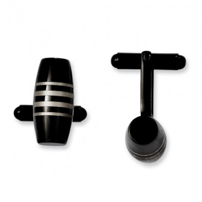 Black IP-Plated Stainless Steel Barrel Cufflinks