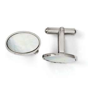 Oval Polished Stainless Steel Mother of Pearl Cufflinks