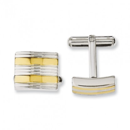 Stainless Steel Yellow IP-Plated & Polished Cufflinks