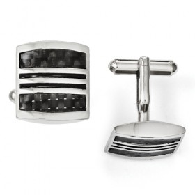 Stainless Steel Black Carbon Fiber & Black Enamel Pillow Cufflinks