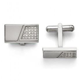 Stainless Steel Polished with CZ Cufflinks
