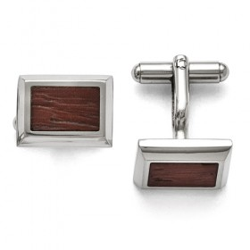 Rectangular Stainless Steel Cufflinks with Wood Inlay Centers