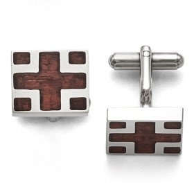 Square Stainless Steel Cross Flag Wood Inlay Cufflinks