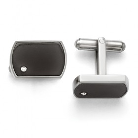 Stainless Steel Polished Black Enamel & CZ Cufflinks