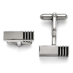 Narrow Stainless Steel Polished Antiqued Inlay Cufflinks