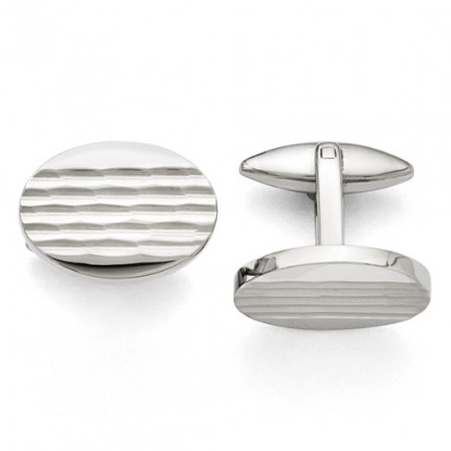 Oval Stainless Steel Polished Cufflinks with Crimped Tread Design