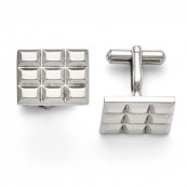 Stainless Steel Grooved Waffle Cufflinks