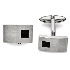 Brushed Stainless Steel Cufflinks with Black Carbon Fiber Inlay - Engravable