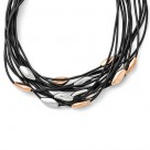 Chisel Stainless Steel Multi-Strand Black Rubber Cord Bead Necklace