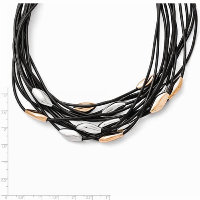 Chisel Stainless Steel Multi Strand Black Rubber Cord Bead