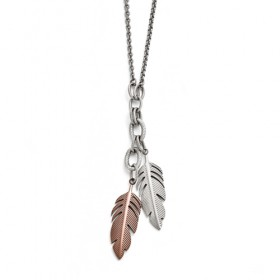 Two-Tone Dangling Feather Slip-On Stainless Steel Necklace