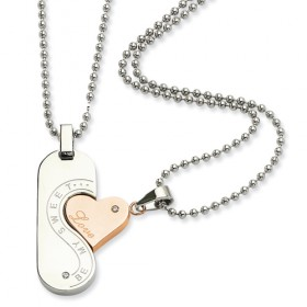 Be My Sweet Love Heart Interlocking Couples Stainless Steel Necklace Set