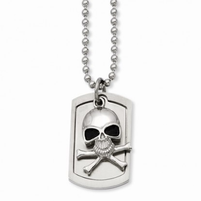 Skull and Cross Bones Dog Tag Stainless Steel Necklace