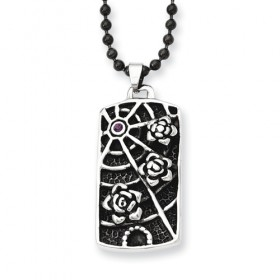 Antiqued Flowers and CZ Spider Web Stainless Steel Necklace