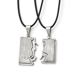 Stainless Steel Couples Interlocking Musical Notes Necklace Set