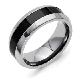 Beveled 7.5mm Titanium Band with Polished Black Ceramic Center