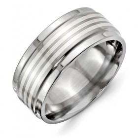 Titanium Ridged Edge 9mm Band with Argentium Sterling Silver Inlay