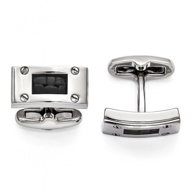 Edward Mirell Texture Titanium & Black Leather Polished Cufflinks