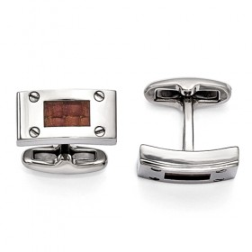 Edward Mirell Texture Titanium & Brown Leather Polished Cufflinks