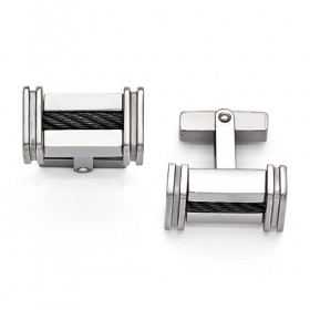 Edward Mirell Cable Squared Titanium Cable Polished Cufflinks