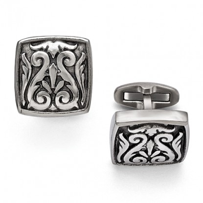 Edward Mirell Casted Titanium Winged Scroll Cufflinks