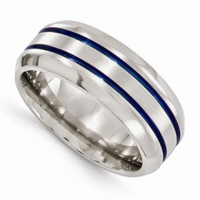 Beveled Edward Mirell Anodized Blue Double Groove 8mm Titanium Band