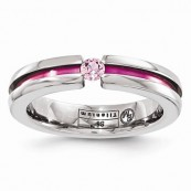 Pink Sapphire Anodized Edward Mirell Grooved Titanium 4mm Band