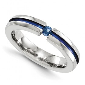 Round Sapphire & Blue Anodized Edward Mirell Grooved Titanium 4mm Band