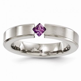 Edward Mirell Amethyst Satin Titanium 4mm Band