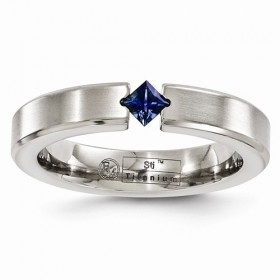 Edward Mirell Blue Sapphire Satin Titanium 4mm Band
