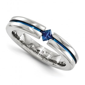 Sapphire and Blue Anodized Edward Mirell Titanium 4mm Band