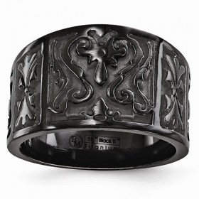 Edward Mirell Scroll Panel Black Ti Flat Casted Design Ring