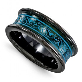 Concave Edward Mirell Black Titanium Anodized Teal Band