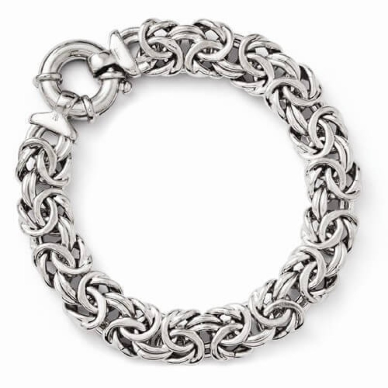 2 4 Days Sterling Silver Byzantine Bracelet With Fancy Spring Ring