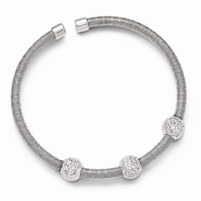 Leslie's Sterling Silver Wire-Wrapped Tubular Cuff Bracelet with Diamond Cut Beads