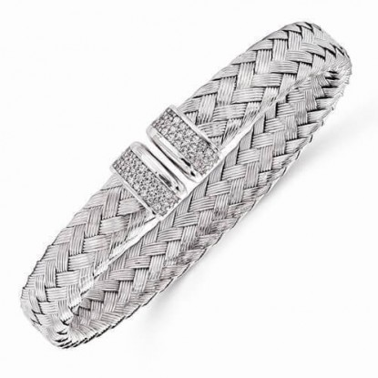 Leslie's Woven Braid Sterling Silver Flexible Cuff with CZ Accents