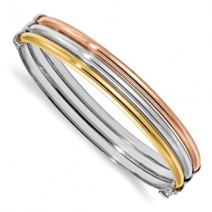 Stacked Slip-On Tri-Color Sterling Silver Bangle Bracelet - Leslie's