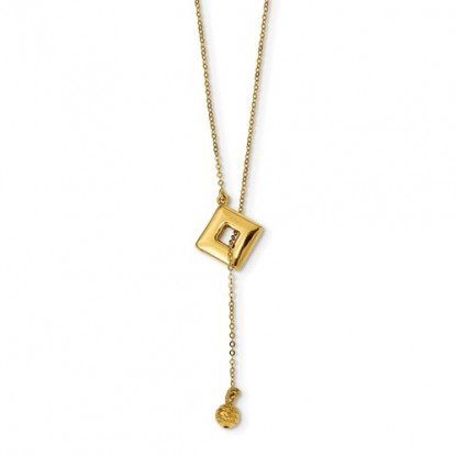 Leslie's 14k Yellow Gold Box and Ball Y Drop Necklace