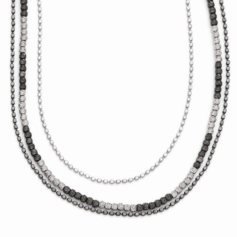 leslie s two tone multi strand sterling silver bead necklace