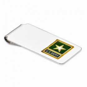 Sterling Silver Army Yellow Star Money Clip