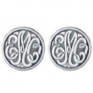 Round Fancy Scroll Monogram Sterling Silver Cufflinks