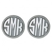 Round Block Monogram Sterling Silver Cufflinks with Rope Border