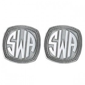 Rounded Square Monogram Sterling Silver Cufflinks with Textured Border